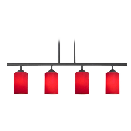 Design Classics Lighting Modern Island Light with Red Glass in Matte Black Finish 718-07 GL1008C