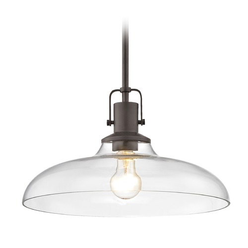 Design Classics Lighting Clear Glass Pendant Light Bronze Finish  14-Inch Wide 1762-220 G1784-CL