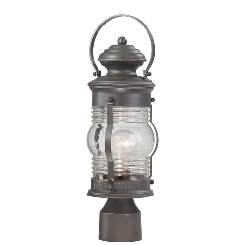 Minka Lavery Post Light with Clear Glass in Oil Rubbed Bronze W / Gold Highlights Finish 72236-143C