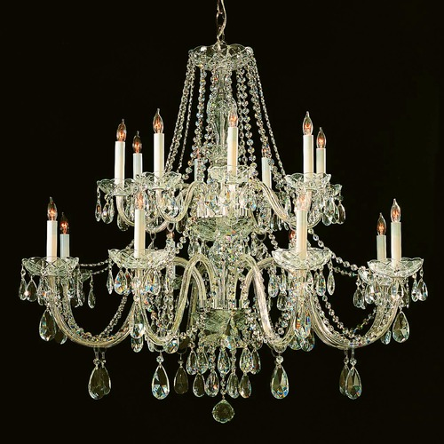 Crystorama Lighting Crystorama Traditional 2-Tier 16-Light Crystal Chandelier in Polished Brass 1139-PB-CL-S