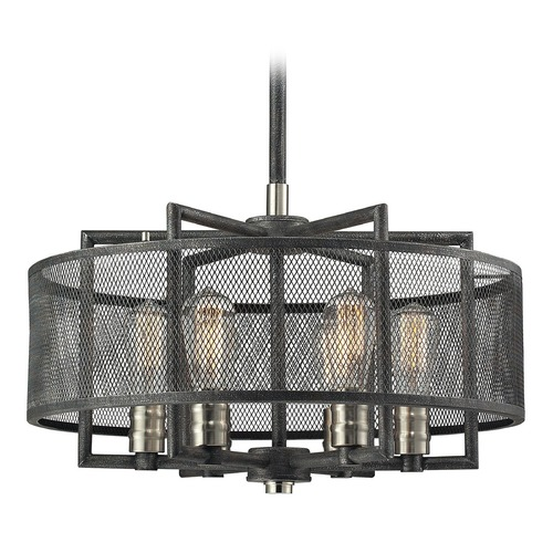 Elk Lighting Elk Lighting Slatington Silvered Graphite/brushed Nickel Pendant Light with Drum Shade 31238/6
