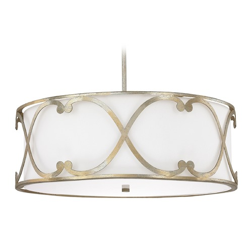 Capital Lighting Capital Lighting Alexander Winter Gold Pendant Light with Drum Shade 4744WG-611