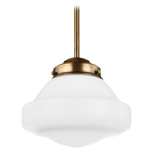 Feiss Lighting LED Schoolhouse Mini-Pendant Light Opal Glass Brass 10-Inch Wide by Feiss Lighting P1377AGB-LED