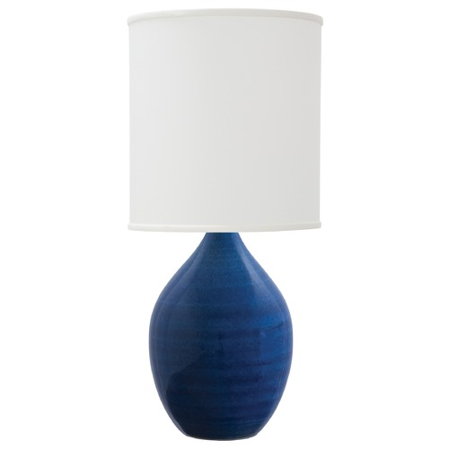 House of Troy Lighting House of Troy Scatchard Blue Gloss Table Lamp with Cylindrical Shade GS301-BG