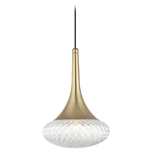 Hudson Valley Lighting Mid-Century Modern Pendant Light Brass Mitzi Bella by Hudson Valley Lighting H114701D-AGB