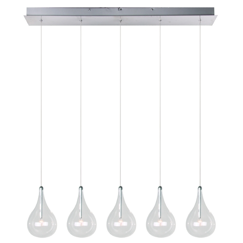 ET2 Lighting Modern Low Voltage Multi-Light Pendant Light with Clear Glass and 5-Lights E23115-18