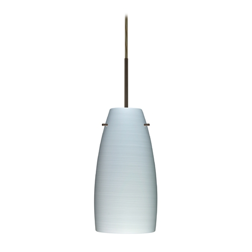 Besa Lighting Modern Pendant Light with Grey Glass in Bronze Finish 1JT-1512KR-BR