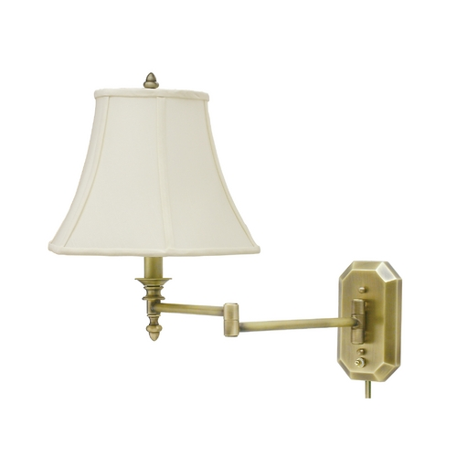 House of Troy Lighting Swing Arm Lamp with White Shade in Antique Brass Finish WS-708-AB