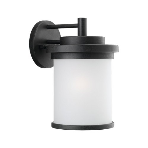 Sea Gull Lighting Modern Outdoor Wall Light with White Glass in Forged Iron Finish 88661-185