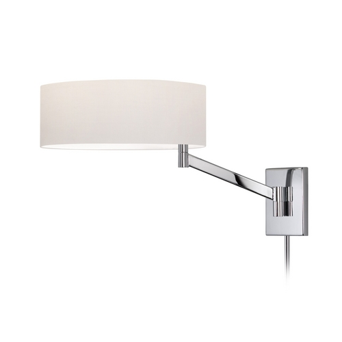 Sonneman Lighting Modern Swing Arm Lamp with White Shade in Polished Chrome Finish 7080.01