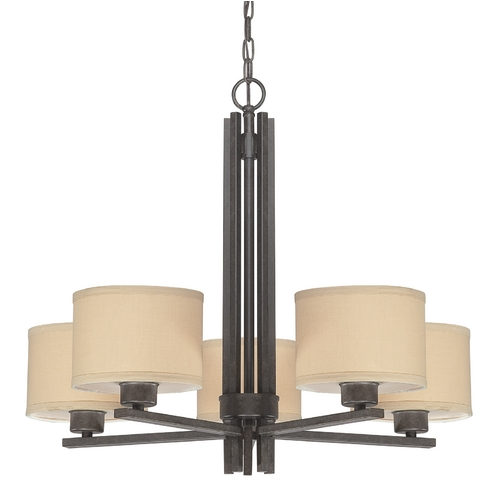 Dolan Designs Lighting Five-Light Chandelier with Natural Linen Shades 2940-34