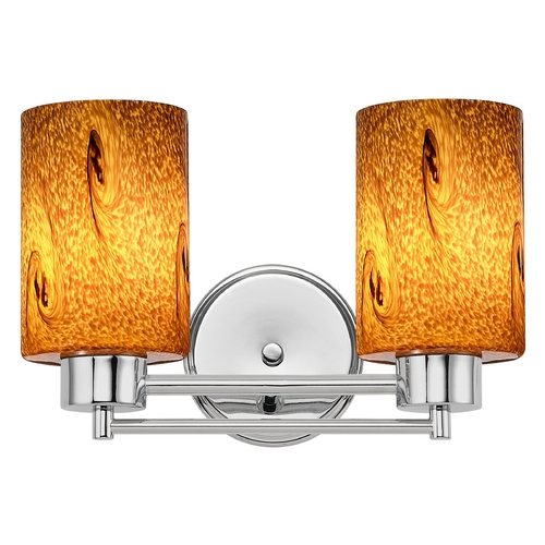 Design Classics Lighting Modern Bathroom Light with Brown Art Glass in Chrome Finish 702-26 GL1001C
