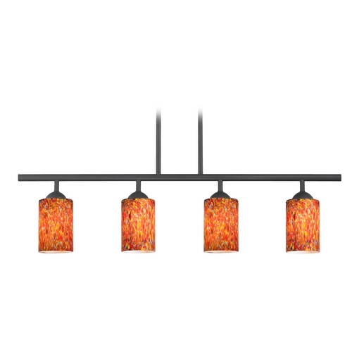 Design Classics Lighting Modern Island Light with Multi-Color Glass in Matte Black Finish 718-07 GL1012C