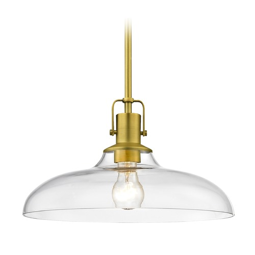 Design Classics Lighting Clear Glass Nautical Pendant Light Satin Brass Finish  14-Inch Wide 1762-12 G1784-CL