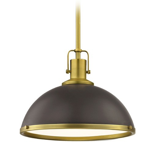 Design Classics Lighting Nautical Bronze Pendant Light with Brass 13.38-Inch Wide 1762-12 SH1776-220 R1776-12
