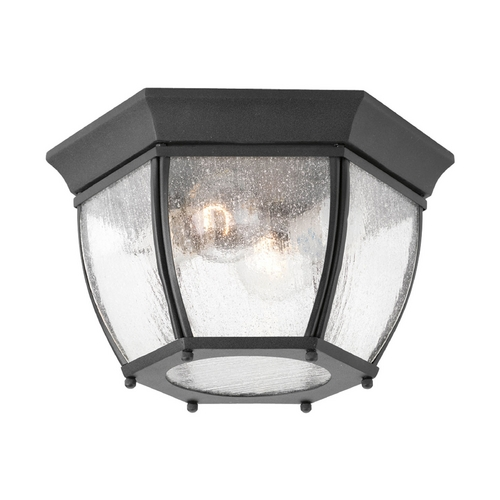 Progress Lighting Close To Ceiling Light with Clear Glass in Black Finish P6019-31