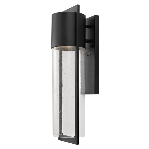 Hinkley Lighting Dwell 15-1/2-Inch Outdoor Wall Light with Seedy Glass 1324BK