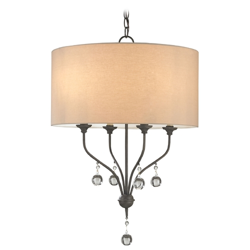 Currey and Company Lighting Currey and Company Lighting Black Iron Pendant Light with Drum Shade 9432