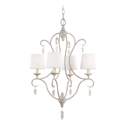 Feiss Lighting Feiss Lighting Caprice Chalk Washed Crystal Chandelier F2932/4CHKW