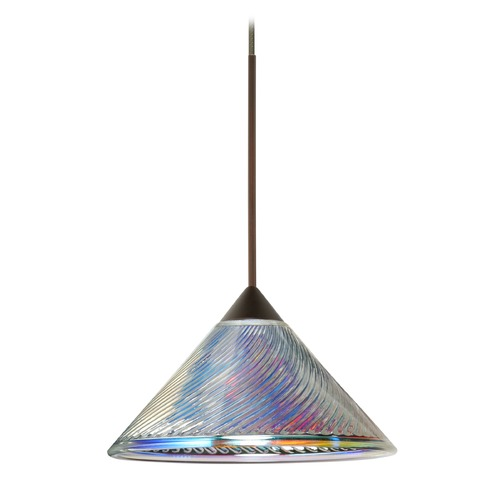 Besa Lighting Besa Lighting Kona Bronze LED Mini-Pendant Light with Conical Shade 1XT-550493-LED-BR