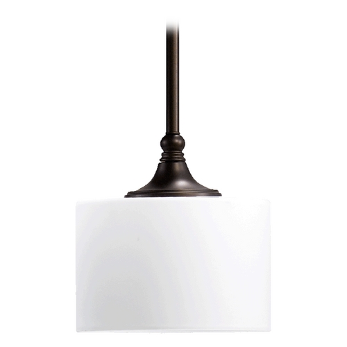 Quorum Lighting Quorum Lighting Rockwood Oiled Bronze Mini-Pendant Light with Drum Shade 3090-86