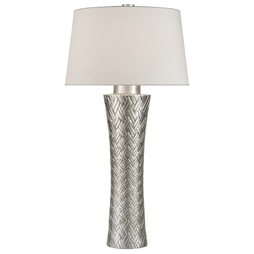 Fine Art Lamps Fine Art Lamps Recollections Platinized Silver Leaf Table Lamp with Drum Shade 836210ST
