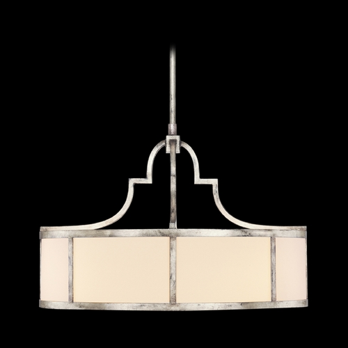 Fine Art Lamps Fine Art Lamps Portobello Road Platinized Silver Pendant Light with Drum Shade 438540ST