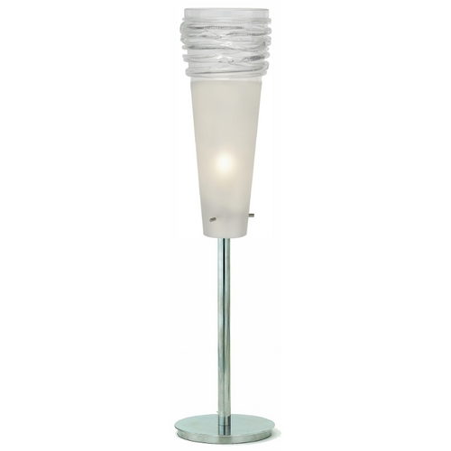 Oggetti Lighting Oggetti Lighting Fili Satin Nickel Table Top Torchiere Lamp with Conical Shade 29-324