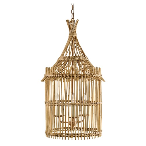 Currey and Company Lighting Currey and Company Tobago Khaki / Natural Pendant Light 9262
