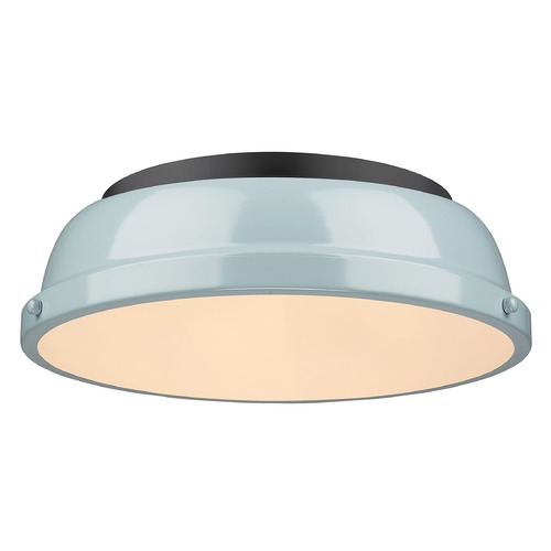 Golden Lighting Golden Lighting Duncan Seafoam Flushmount Light with Black Accent 3602-14BLK-SF