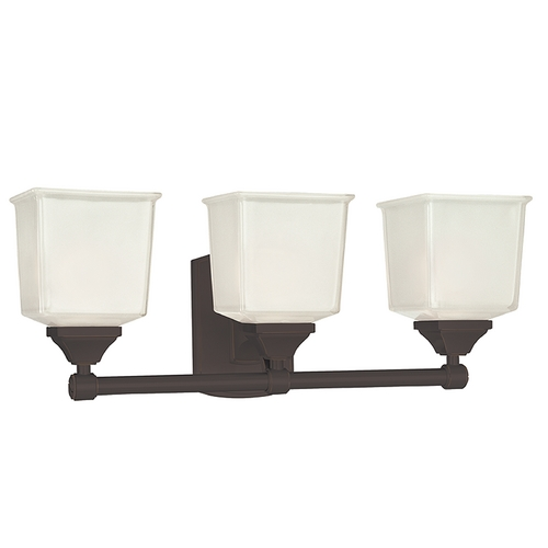 Hudson Valley Lighting Modern Bathroom Light with White Glass in Old Bronze Finish 2243-OB