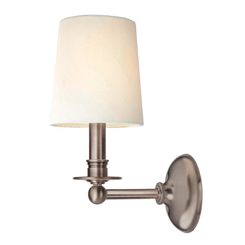 Hudson Valley Lighting Sconce Wall Light with White Shade in Antique Nickel Finish 181-AN