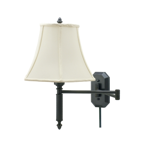 House of Troy Lighting Swing Arm Lamp with White Shade in Oil Rubbed Bronze Finish WS-706-OB