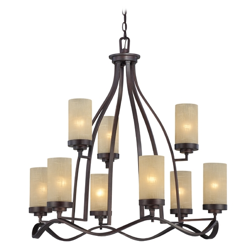 Designers Fountain Lighting Chandelier with Beige / Cream Glass in Tuscana Finish 83689-TU