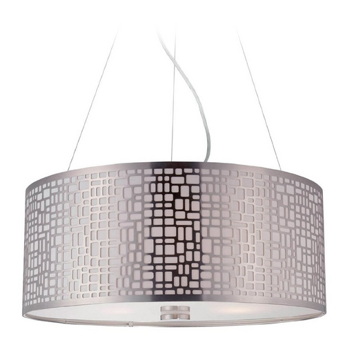 Lite Source Lighting Modern Drum Pendant Light with White Glass in Polished Steel Finish LS-19174PS
