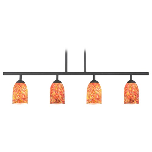 Design Classics Lighting Modern Island Light with Multi-Color Glass in Matte Black Finish 718-07 GL1012D