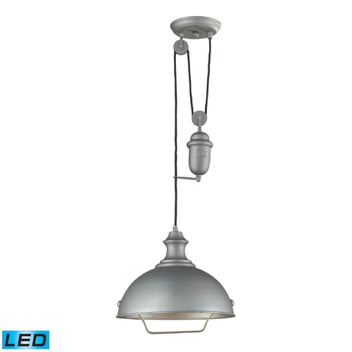 Elk Lighting Elk Lighting Farmhouse Aged Pewter LED Pendant Light with Bowl / Dome Shade 65081-1-LED