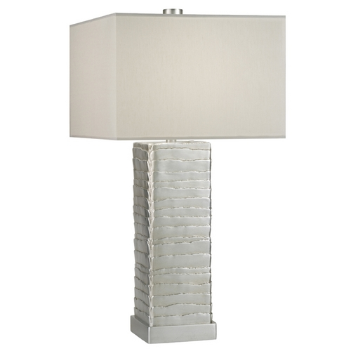 Fine Art Lamps Fine Art Lamps Recollections Platinized Silver Leaf Table Lamp with Rectangle Shade 836310ST