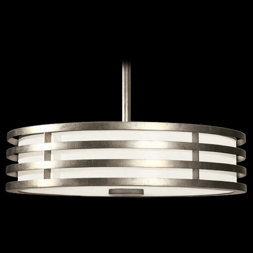 Fine Art Lamps Fine Art Lamps Portobello Road Platinized Silver Pendant Light with Drum Shade 445840-2ST