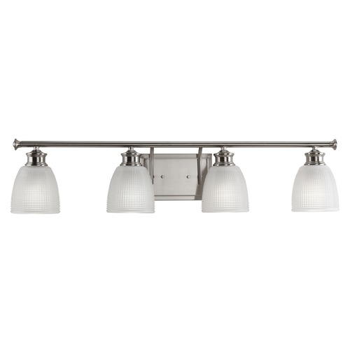 Progress Lighting Farmhouse Bathroom Light Prismatic Glass Brushed Nickel Lucky by Progress Lighting P2118-09