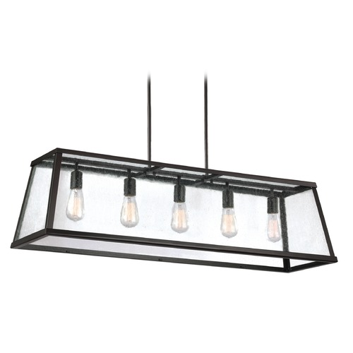 Feiss Lighting Seeded Glass Island Light Oil Rubbed Bronze Feiss Lighting F3073/5ORB