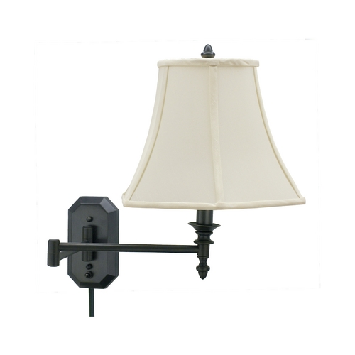 House of Troy Lighting Swing Arm Lamp with White Shade in Oil Rubbed Bronze Finish WS-708-OB