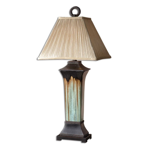Uttermost Lighting Table Lamp with Beige / Cream Shade in Light Green Finish 26270