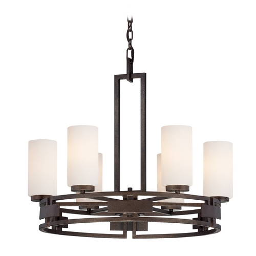 Designers Fountain Lighting Chandelier with White Glass in Flemish Bronze Finish 83886-FBZ