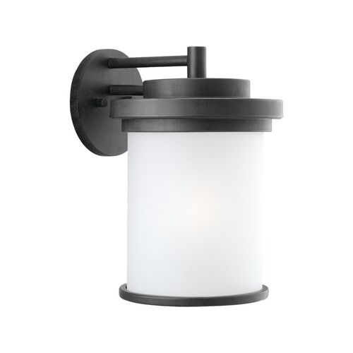 Sea Gull Lighting Modern Outdoor Wall Light with White Glass in Forged Iron Finish 88662-185