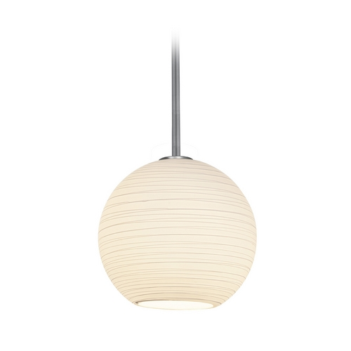 Access Lighting Modern Pendant Light with White Glass in Brushed Steel Finish 28088-2R-BS/WHTLN