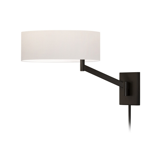 Sonneman Lighting Modern Swing Arm Lamp with White Shade in Cofee Bronze Finish 7080.27
