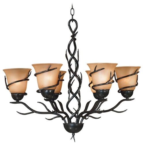 Kenroy Home Lighting Chandelier with Amber Glass in Bronze Finish 90900BRZ