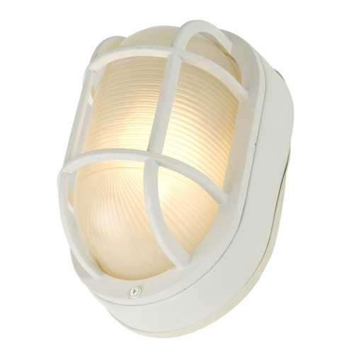 Design Classics Lighting Oval Bulkhead Light in White Finish with Ribbed Glass 4513 WH