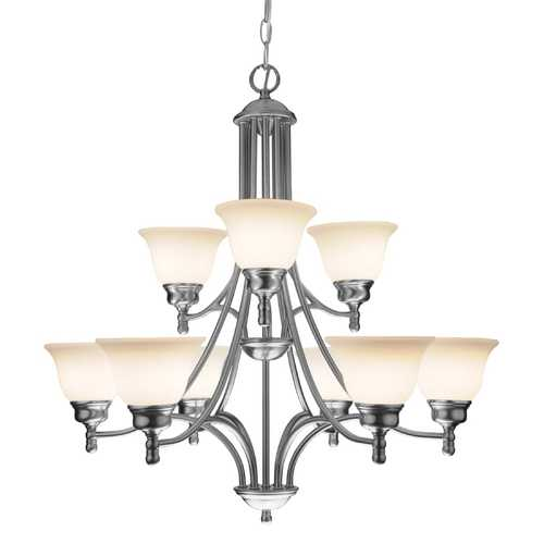 Design Classics Lighting Satin Nickel Chandelier with Nine Lights 7009-09